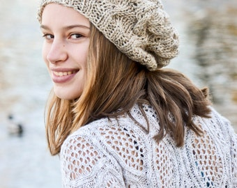 Very Cute Tan Tweed Cable Knit Slouch Hat