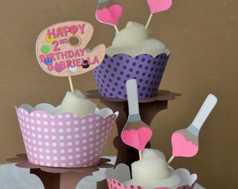 12 Paint Art Birthday Party Decorations - Cupcake Toppers