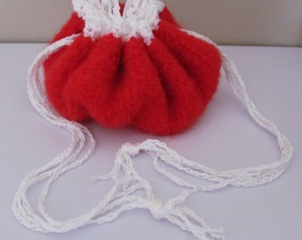 Girl's Red Purse, Christmas Purse, Valentine's Purse, Red Reticule, Red Purse