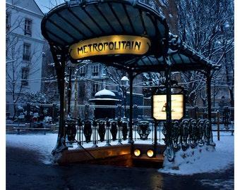 Paris Art Nouveau Metro station at dawn with snow - Paris sous la neige, winter, Guimard - 8x10 and larger - Original Fine Art Photograph