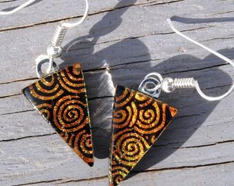 Dichroic Glass Earrings, Fused Glass Jewelry, Sterling Silver Ear Wires, Autumn, Warm, Dark Orange, Swirls, Rustic, Fire (Item 30467-E)