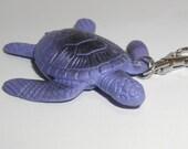 Sea Turtle Zipper Pull Keychain Backpack Clip Purple Plastic