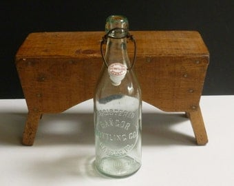 Antique Soda Bottle with Blob Top and Porcelain Stopper