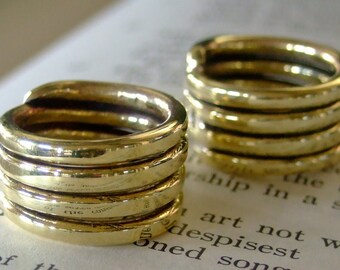 GOLD TONE 4 COIL Solid Brass Matching Pinkie Rings