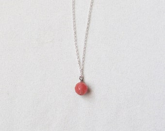 Simple Cherry Quartz Stone Pendant Necklace with FREE SHIPPING