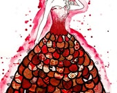 The Red Dress original mixed media illustration red glitter scarlet ruby fashion illustration