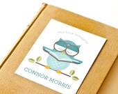 Personalized Bookplates, Childrens Bookplate Sticker // OWL