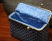 Cosmetic Bag - Retro Blue Extra Large (Pencil Case, Cosmetic Case, Makeup Pouch, Travel Bag)