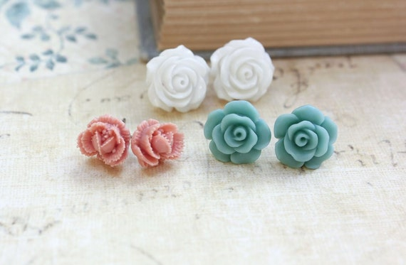 Rose Stud Earrings, Dusty Pink Rose Post Earrings, Aqua Blue, White Flower Jewelry, Vintage Style Surgical Steel SpringShabby Chic Jewelry