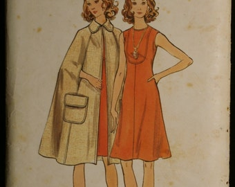 Butterick 6542 Misses A-Line Dress and Cape Vintage 70s Sewing Pattern Sz 14