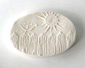 Picket Fence Bird with Sun -- Clay Stamp -- Tool for Pottery Ceramics Polymer Clay