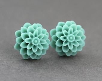floral stud earrings, flower studs, sterling silver-plated, boho chic, teal blue, artisantree