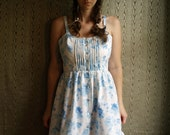 floral sundress with gathered skirt, lace detail, pintucks and western pearl snaps. Made to measure
