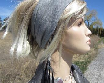 Hipster Hair Wrap Headband Yoga Turban Cotton Light Gray Cloud Women's Wide Knit Hair Band A1149