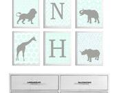 Ikat Safari Wall Art Girl Boy Nursery Neutral Personalized Letter Initial Mist Grey Carousel set of 6 each size 11x14