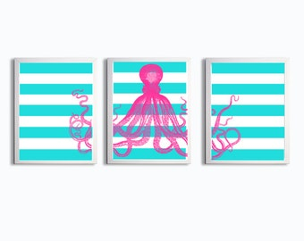 Octopus Ocean Beach Nautical Hot Pink Bright Turquoise Stripes Set of 3 art prints each size 11x14