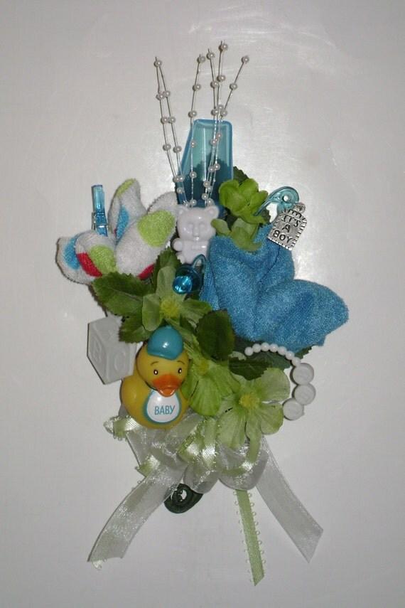 baby shower corsage baby boy washcloth corsage new mom corsage