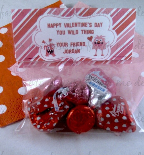 1 Dozen Monsters & Hearts Valentine Treat Bags