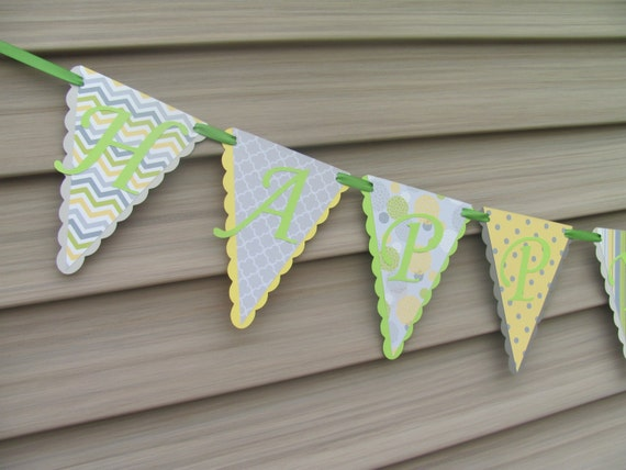 Happy Birthday Banner, Lime, Grey, Yellow Banner, Chevron, Stripes Polka Dot Banner