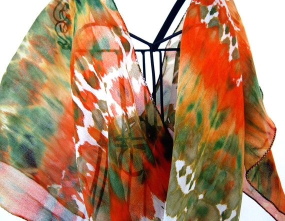 Orange silk scarf, mothers day gift, hand painted silk scarf, tie dye scarf, hand dyed orange silk scarf, indian silk scarf