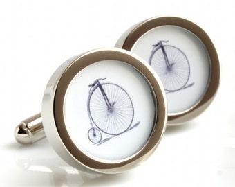 Penny Farthing Bike Cufflinks - for Weddings, Anniversaries, Birthdays or Just Because