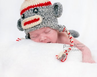 Baby Sock Monkey  Hat, Newborn Sock Monkey Hat,  Crochet Newborn Unique Photo Prop
