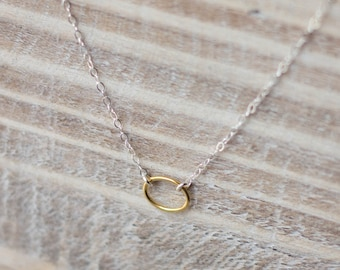 Tiny Eternity Necklace - Gold Vermeil Oval on Sterling Silver Chain - Mixed Metal - Silver and Gold Layering Necklace - Christmas Gift