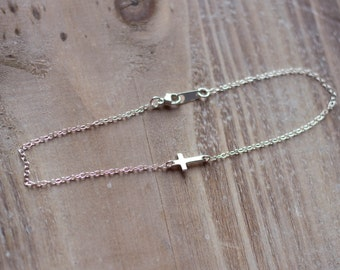 Sideways Cross Anklet - Extra Tiny Cross - Sterling Silver Ankle Bracelet - Simple Anklet - Summer Beach Anklet
