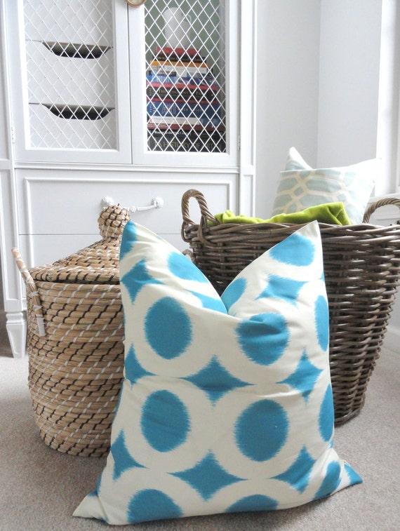 Blue and White Pillow Cover - Designer Decorative Pillow Cover - Blue Peacock Circle - Throw Pillow - Circle