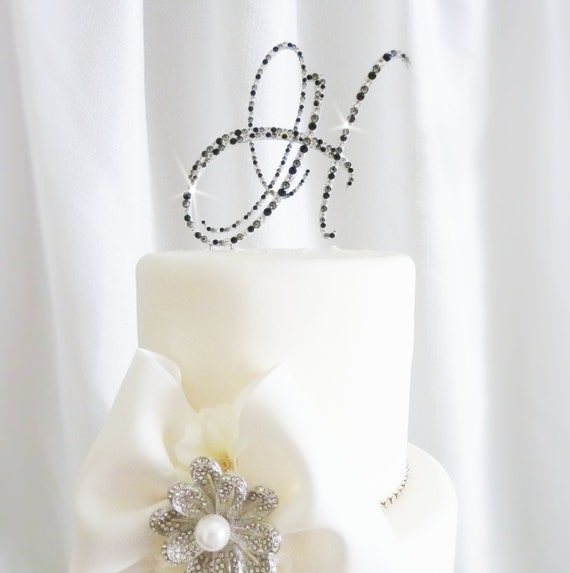 monogram wedding cake toppers with swarovski crystals monogram wedding cake toppers with swarovski by panachebride 17528