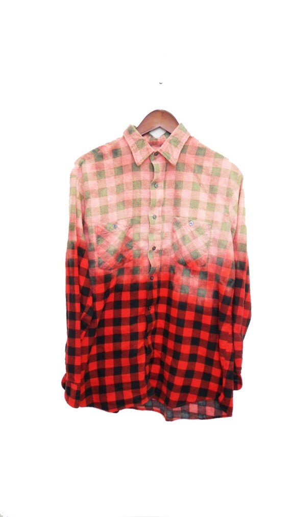 Buffalo check shirt flannel bleached red black by for Buffalo check flannel shirt
