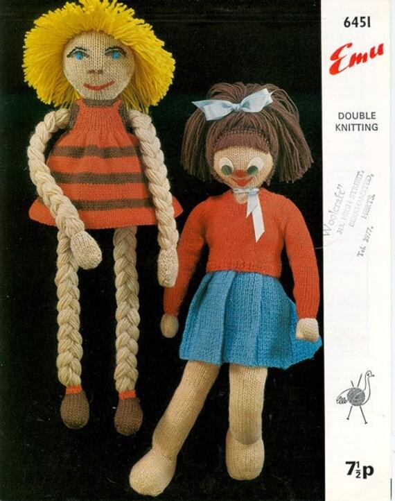 Knitting Pattern For Long Legged Doll : Emu 6451 Vintage Soft Toy Knitting by vintagemadamedefarge ...