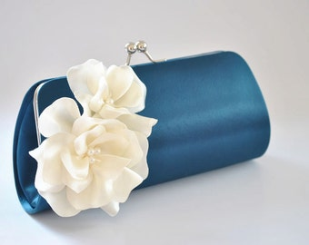Navy Blue and Ivory - Bridal Clutch / Bridesmaid Clutch