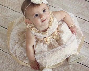 WEDDING COLLECTION  Fancy Ivory Cream Headband  (Newborn, Toddler, Child) Also In WHITE