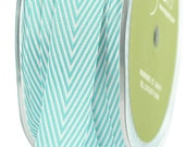 1 yd - TURQUOISE Twill Stripes Chevron  - 3/4-Inch Wide Ribbon - May Arts