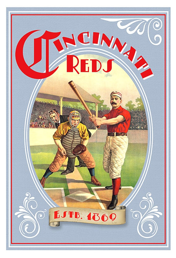 Cincinnati Reds Baseball 1869 Poster - Baseball poster print -13x19 -