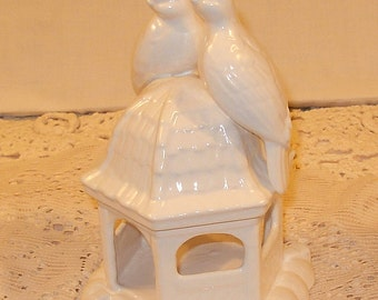 Love Birds on Gazebo  -  Love Doves Wedding Cake Topper - Classic White