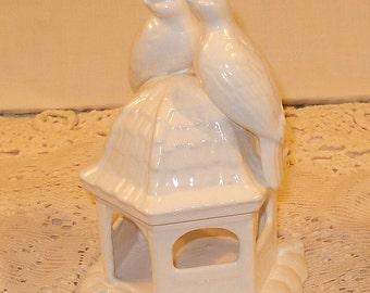 Love Birds on Gazebo  -  Love Doves Wedding Cake Topper - Classic White