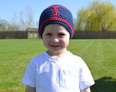 READY TO SHIP Crochet Baby Football Beanie 2T-3T Dark Country Blue/Red Hat