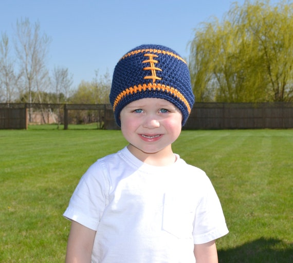 Crochet Baby Football Beanie - Newborn to Adult - Dark Country Blue and Mango - MADE TO ORDER