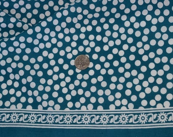 Indian Summer Pure Cotton Fabric with Polka dotes - One yard