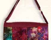 Patchwork Batiks Purple and Gold Metallic Linen Messenger Bag Adjustable Strap