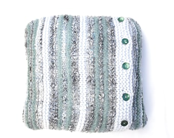 Knitted Cushion Cover , Striped Pillow Throw , hand knit cushion , blue cable cover , striped wool cushion , clearance sale, price reduced