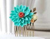 Large Teal Green Turquoise Chrysanthemum Flower Hair Comb. Wedding Bridal Hair Comb. Bridesmaid Gift. Woodland Country