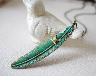 Large Feather Necklace. Teal Blue Verdigris Patina Extra Large Feather, Brass Flying Swallow Bird. Feather Statement Necklace