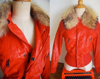 "WoozWass Vintage Tomato Red Lambskin Fox Fur Motocycle Jacket size M by ""Blue Heros"""