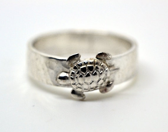 silver turtle ring personalized jewelry custom by fifthheaven