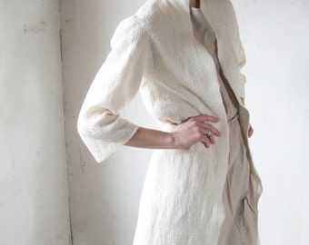 White Minimalist Coat, Spring Jacket, Oversized Coat, Loose Cardigan, Wedding Coat, Felt Coat, Long Jacket, Wrap Cardigan, Ivory Cardigan