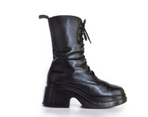 90's Platform Wedge Avant Garde Goth Black Leather Combat Boots // 9