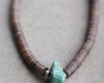 Handmade Vintage Large Turquoise Raw Stone and Heishi Bead Necklace by Mountain Man Trading